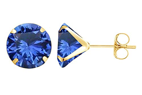 (8mm Round Cut Simulated Blue Sapphire Stud Earrings in 14k Yellow Gold Over Sterling Silver)