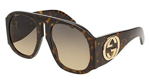 Gucci GG0152S Sunglasses 004 Havana / Brown Gradient Lens 57 mm ()