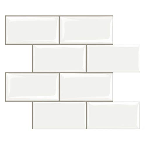 STICKGOO Peel and Stick Subway Tile, Stick on Tiles Backsplash for Kitchen & Bathroom in White (Pack of 10, Thicker Design)