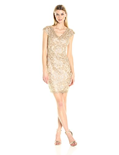 Tadashi Shoji Women's Corded Lace V Back Dress, Light Gold, 4 ()