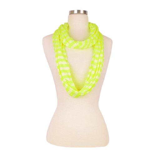 Infinity Jersey - Elegant Striped Infinity Loop Jersey Scarf, Neon Yellow