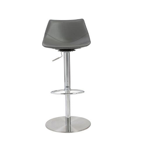 Groovy Euro Style Rudy Adjustable Bar To Counter Height Stool Gray Leatherette With Stainless Steel Column And Base Beatyapartments Chair Design Images Beatyapartmentscom