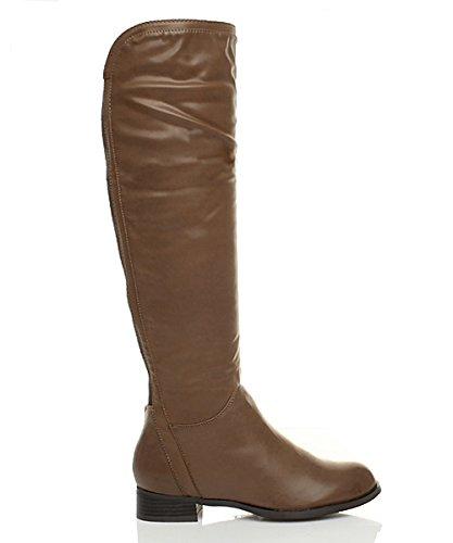 Ajvani Womens ladies low heel zip long knee stretch gusset wide riding lyrca calf boots size Brown PDCGc