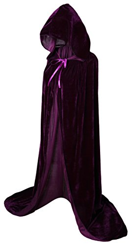 (VGLOOK Full Length Hooded Cloak Long Velvet Cape for Christmas Halloween Cosplay Costumes 59inch Purple)