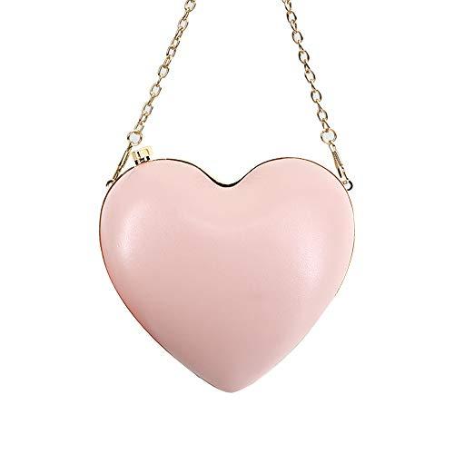 Adela Women Girls Heart Shape Chain Crossbody Bag Evening Party Mini Clutch Purse, Pink