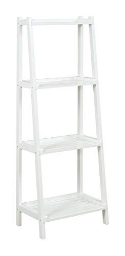 New Ridge Home Goods Dunnsville 4-Tier Ladder Shelf, White (Contemporary Merlot Finish Wood)