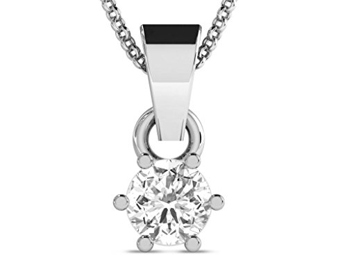 Or Blanc 9 ct Pendentifs Diamant solitaire, 0.2 Ct Diamant, GH-SI, 0.42 grammes.