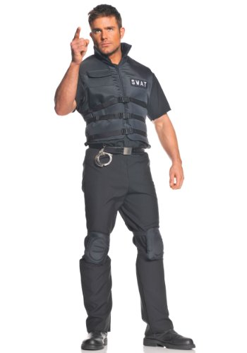 Cop Couple Costumes (Underwraps Men's Plus-Size Swat, Black, XX-Large)