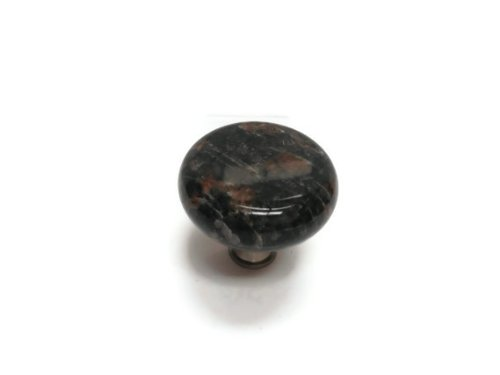 Granite 45mm Solid Granite Knob with Satin Nickel Base - Tan Brown