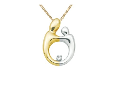 Mother and Child Pendant Necklace by Janel Russell 14 kt Two Tone Gold