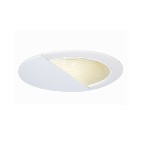 Jesco Lighting TM629WHWH 6-Inch Aperture Line Voltage Trim Recessed Light, Wall Washer With Step Baffle, All White Finish