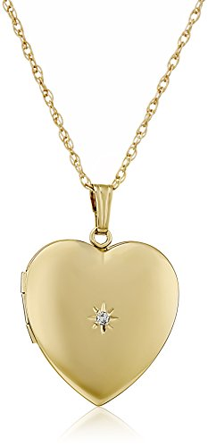 14k Yellow Gold-Filled Diamond-Accent Heart Locket Necklace, 20