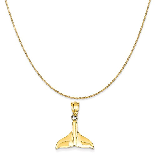 Mireval 14k Yellow Gold Solid Polished Open-Backed Whale Tail Pendant on 14K Yellow Gold Rope Necklace, 18