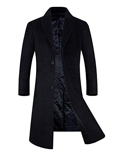 (APTRO Men's Wool Blend Trench Coat Full Length Overcoat Fleece Lining Top Coat Navy-Knee Length L)