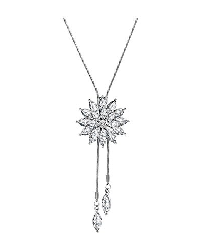 Shoopic Crystal Tassel Snowflake Pendant Necklace Long Sweater Necklace for Women Girls from Zealmer