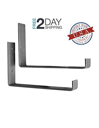2 Pack - 11.25L x 6H Hook Brackets, Hook Iron Shelf Brackets, J Bracket, Metal Shelf Bracket, Industrial Shelf Bracket, Modern Shelf Bracket