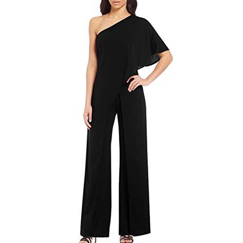 (Women's Jumpsuit One Shoulder Striped Wide Leg Pants Loose Comfy Overalls Trousers Party Bottoms Black)