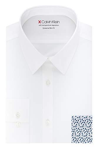 Calvin Klein Men's Dress Shirts Xtreme Slim Fit Solid Thermal Stretch, Cream, 15