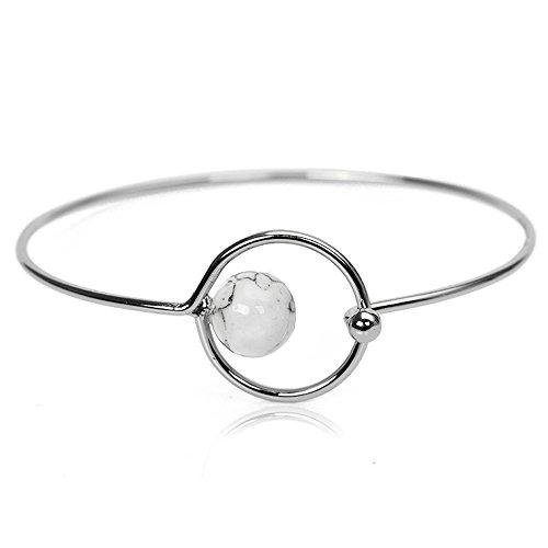 Round Pearls Bracelet Bangle (MUZHE Simple Geometry Hollow Circle White Pearl Jewelry Bangle Bracelet for Women Girls (Silver))
