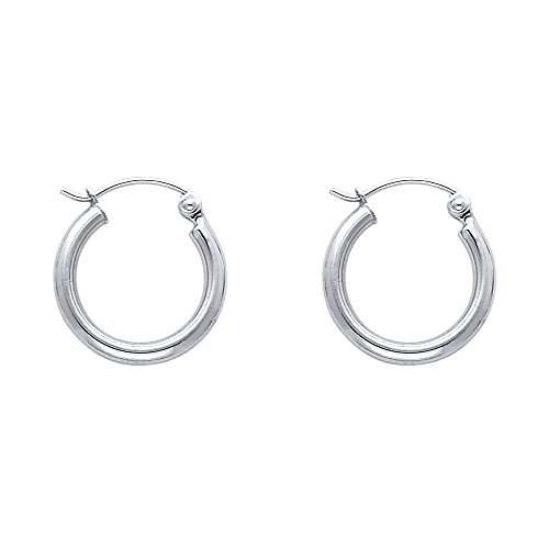 14k REAL White Gold 2mm Thickness Hinged Hoop Earrings (15 x 15 ()