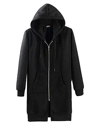 Avec poitrine XL couleur Long Manteau Hood 24inch Taille Noir Noir 47 Unisexe Zhrui x8zwEB