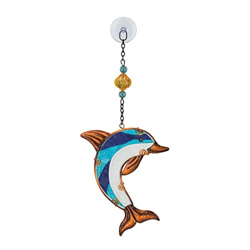 Regal Art & Gift Dolphin 5.5 inches x 1 inches x 13.25 inches Metal Glass Plastic Sun Catcher - Hanging Garden Accessories