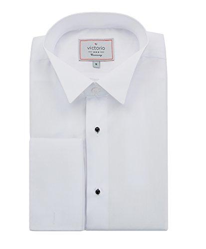 Victorio Camicia da Cerimonia Elegante di Lusso Cotone Bianco da Uomo Slim V152