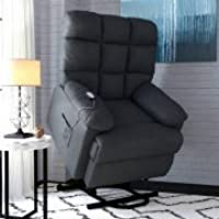 ProLounger Power Recliner and Lift Wall Hugger Chair in Microfiber, Grey