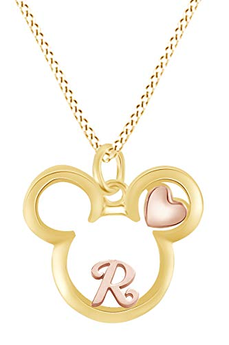 AFFY Initial Letter R Mickey Mouse Heart Two Tone Pendant Necklace 14k Yellow Gold Over Sterling Silver
