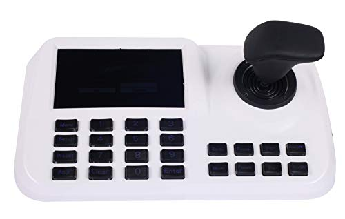 CTVISON PTZ Camera Controller Network Keyboard Joystick Keyboard 4D IP PTZ Controller with LCD Monitor Display Onvif Protocol Support Great for IP PTZ Camera(White)