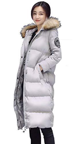 Abrigo Manga Chaqueta Mujer Weimilon Jacket Plumas Larga Acolchado Moda Pluma Elegantes Caliente Grau Joven Largos Outdoor Invierno Espesar Parkas Encapuchado f0nSwSxqd