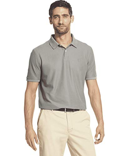 IZOD Men's Advantage Performance Short Sleeve Solid Polo, Light Grey Heather, X-Large