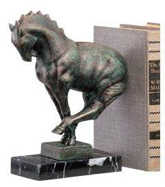 Cast Iron Horse Bookend - Decorative Greek Art Deco Cast Iron Horse Bookend With a Solid Marble Base