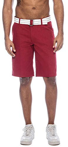 Belted Fashion - TR Fashion Men's Bahamas Belted Walking Shorts (Burgundy, 32)