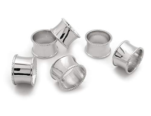 LuReen Napkin Rings Set of 6 for Home Kitchen Dining Room Table (Silver Concave)