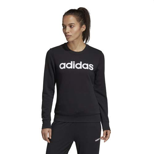 adidas Essentials Women's Linear Crewneck Sweatshirt, Black/White, Medium ()