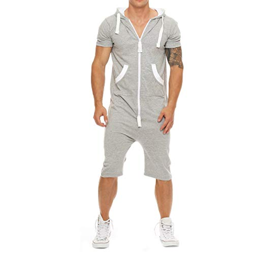 (Men´s One Piece Tracksuit Solid Color Hooded Short Jumpsuit Zip Up Pajama Playsuit Light Gray L )