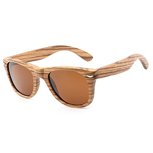 Brown Deporte Gafas Aire Libre bambú la al de Color clásica de Manera la Cebra Madera de vidrios Madera polarizadas de Remache del Azul Unisex bambú de del sol de Gafas TUnZrFTqC