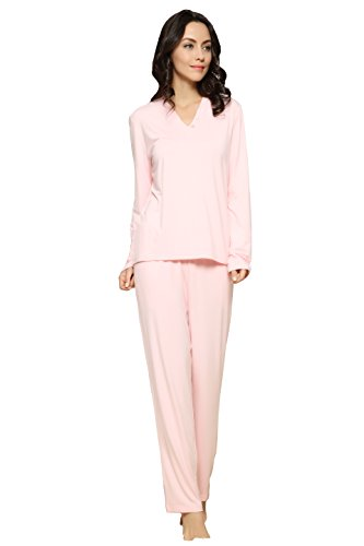 Womens Breathable Bamboo Fiber Long Sleeve Pajama Set