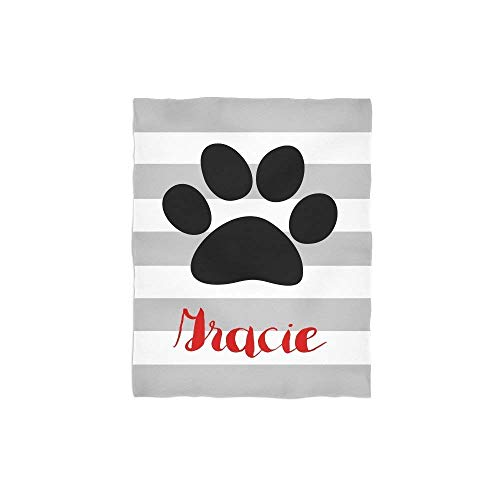 Personalized Throw Blanket-Paw Print School Mascot Striped Blanket