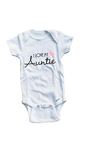 Baby Tee Time Girls' I love my Auntie One piece 3-6 Months White by Baby Tee Time