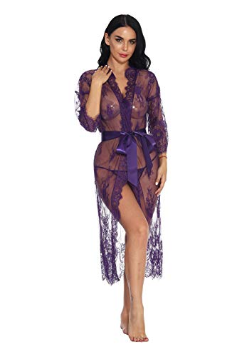 Women Lace Maxi Lingerie Open Front Short Sleeve Mesh Sheer Sleepwear(Purple,XL)