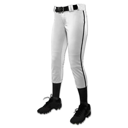 CHAMPRO Women's Tournament Fastpitch Pant with Piping White/Black Small - Softball Piping Jersey