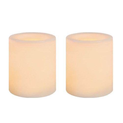 Sterno Home Inglow 1.75-Inch Tall Flameless Wax Covered Votive Candle with Embedded LED, White, 2-Pack by Sterno Home