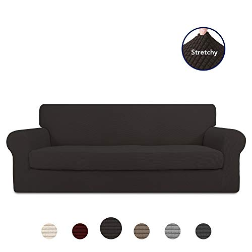 PureFit 2 Pieces Stretch Slipcover for 3 Cushion Couch - Spandex Jacquard Non-Slip Soft Fitted Sofa Couch Cover, Washable Furniture Protector with Non Skid Elastic Bottom for Kids (Sofa, Chocolate)