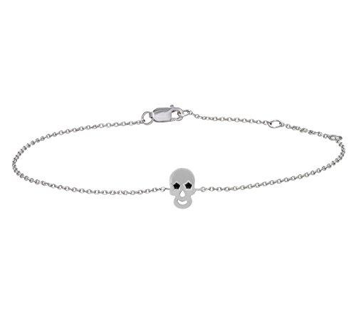 Or Blanc 9 ct Bracelet Diamant en forme de crâne, 0.04 Ct Diamant, GH-SI, 1.82 grammes.