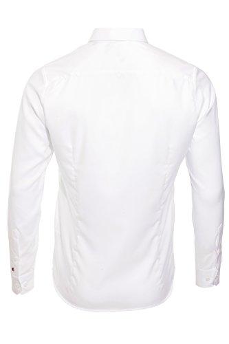PURE Slim Fit Hemd Langarm ohne Brusttasche New Kent Kragen weiß