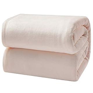 Bedsure Flannel Fleece Luxury Blanket Cream King Size Lightweight Cozy Plush Microfiber Solid Blanket