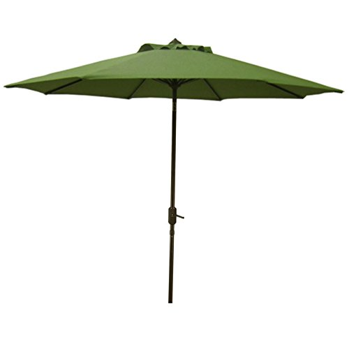 Bayside-21 Patio Umbrella 9 Ft Aluminum Outdoor Table Market Umbrellas With Sunbrella Fabric Auto Tilt and Crank Aluminum Pole 8 Ribs Outdoor Sunshade UPF 50+ (Clianto)