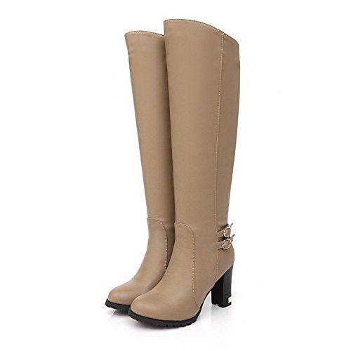 Allhqfashion Women's Pull-on Round Closed Toe High-Heels PU High-top Boots Khaki jPPvKS